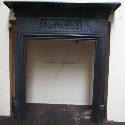 Antique Edwardian cast iron stove fire surround - Full